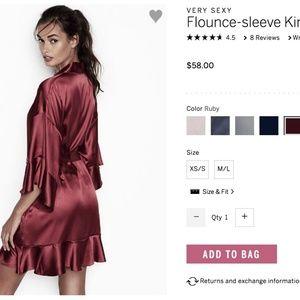 Victoria s Secret Intimates   Sleepwear - VERY SEXY Flounce-sleeve Kimono  Robe Silky Satin 68b49f009